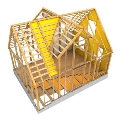 3d illustration of house wooden frame and insulation, isolated over white background
